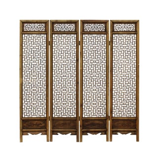 Chinese Vintage Finish Geometric Pattern Wood Panel Screen