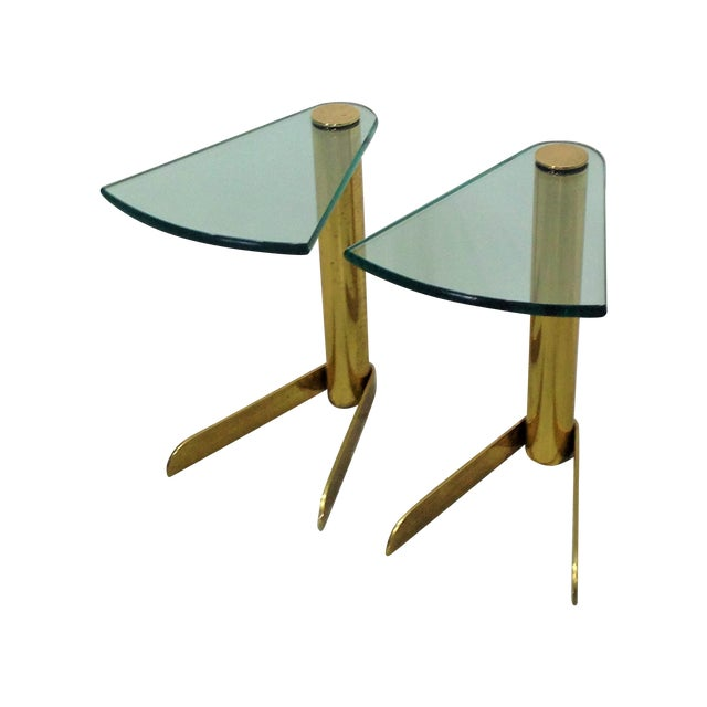 MCM Brass & Glass Side Tables by Pace - A Pair - Image 1 of 6