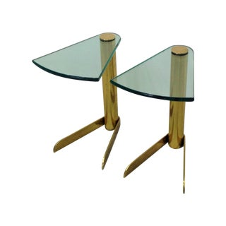 MCM Brass & Glass Side Tables by Pace - A Pair