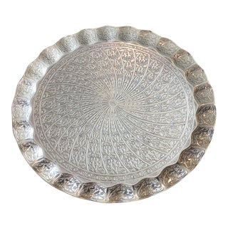 Vintage Sena Turkish Brass Round Serving Tray