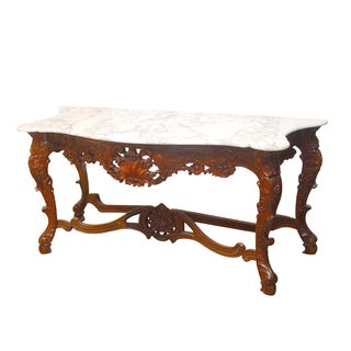 Louis XV Rococo Style Marble Top Console Table
