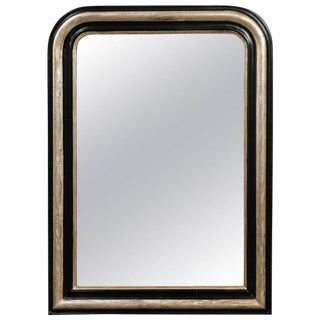 French Turn of the Century Ebonized Wood and Silver Gilded Louis-Philippe Mirror