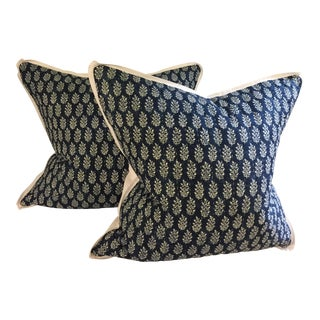 Blue and White Boho Chic Leaf Pillows by CADO for Biot - A Pair