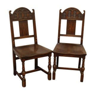 Gothic Wooden Chairs - A Pair