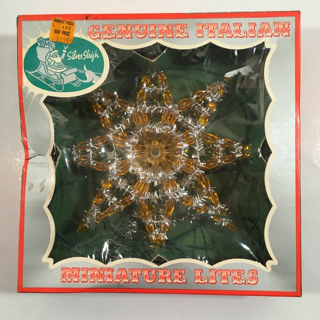Image of Vintage Silver & Yellow Light-Up Star Tree Topper