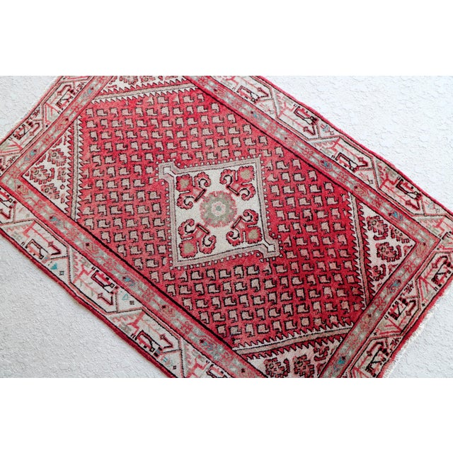 Strawberry & Mint Vintage Persian Rug - 3′3″ × 4′11″ - Image 3 of 5