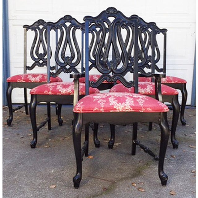Hollywood Regency Chinoiserie Red Toile Black Louis French Dining Chairs - 6 - Image 2 of 11