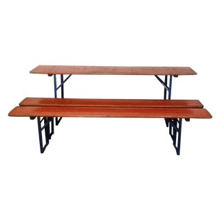 Orange German Beer Garden Table & Benches