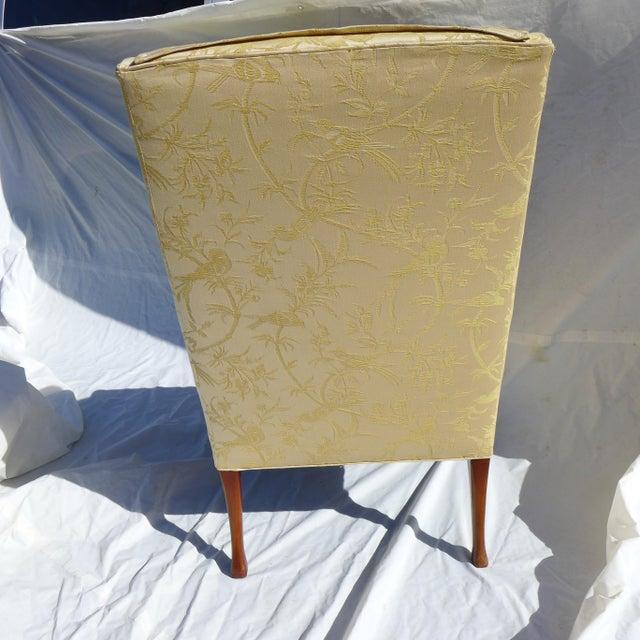 Vintage Mahogany & Yellow Damask Wingback Chair - Image 7 of 9