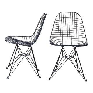 Eames Eiffel Base Black Chairs - A Pair