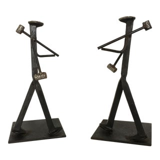 Hand-Crafted Railroad Spike Brutalist Sculpture Bookends - A Pair