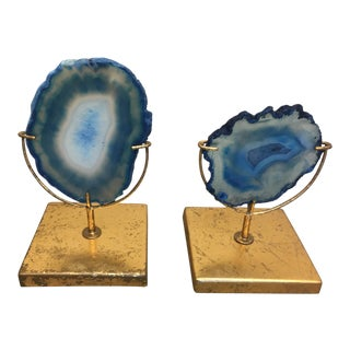 Agate Accents With Gold - A Pair
