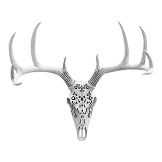 Carved Decorative White Faux Deer Skull Animal Head by Wall Charmers