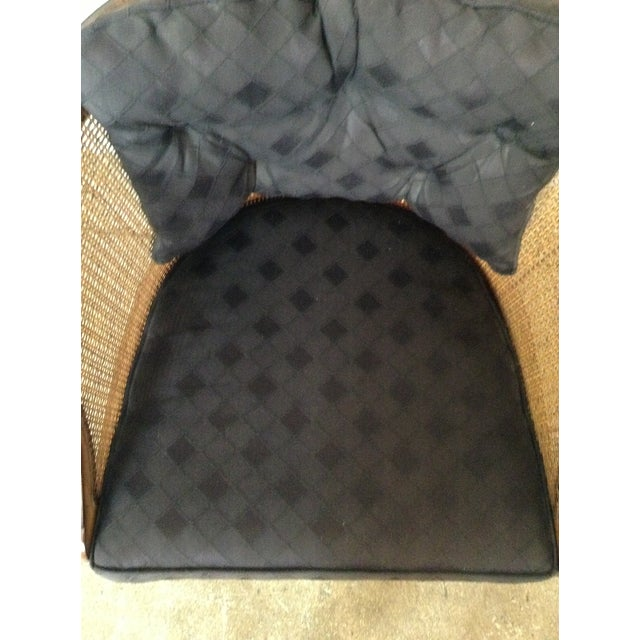 Caned and Upholstered Barrel Back Lounge Chair - Image 10 of 10