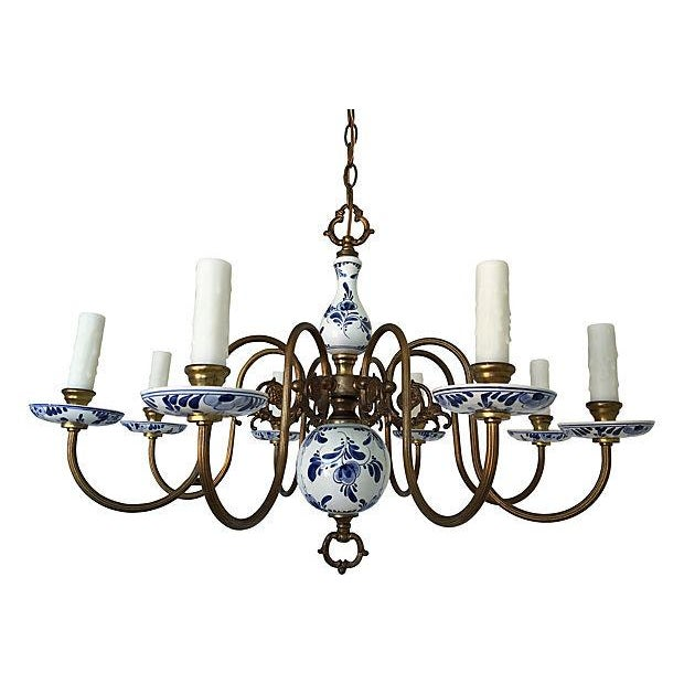 Blue & White Porcelain Chandelier - Image 1 of 8