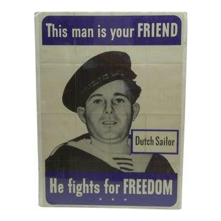 "Circa 1942 Vintage World War II ""Dutch Sailor"" Poster"