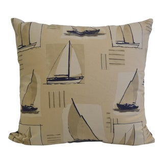 Cotton Sailboat Print Pillow