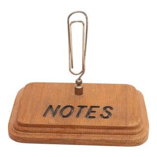 "Vintage Mid Century Large Paper Holder Clip ""NOTES"""