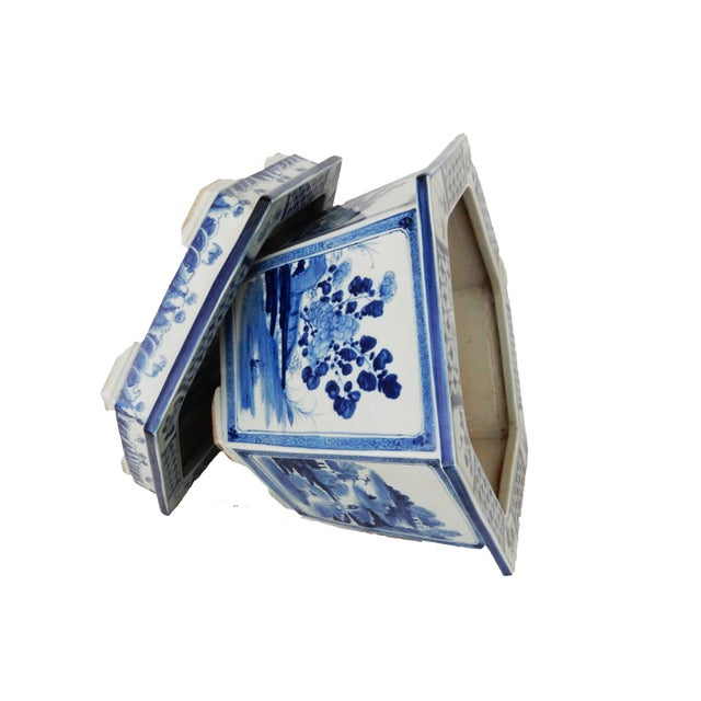 Blue & White Hexagonal Jardiniere - Image 8 of 8