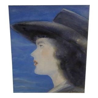 """Original N. Heslop """"Lady in Profile"""" 2014 Painting"""