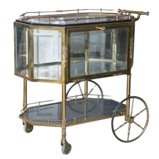 Bronze & Glass Vitrine Tea Wagon Cart