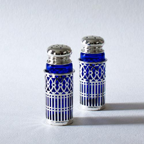 Cobalt Glass and Silverplate Salt and Pepper Shakers - Image 3 of 3