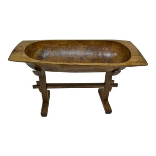 Huge Fruitwood Trog or Dough Bowl on Oak Stand