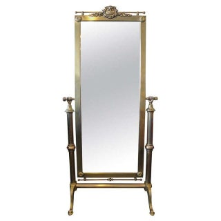 1940s Brass French Cheval Standing Mirror