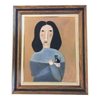"Contemporary Folk Artist Rose Walton ""Tuxedo Kitten"""