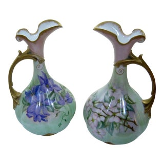 Antique Hand Painted Unsigned Limoges Ewers - A Pair