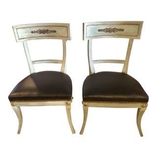Hollywood Regency Painted with Bronze Mounts Side or Office Chairs - a Pair