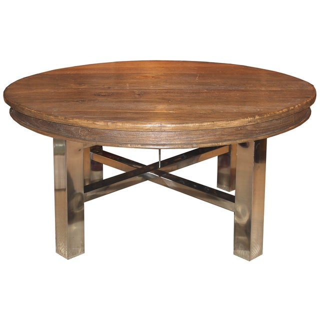 Recycled Elm Round Dining Table Chairish