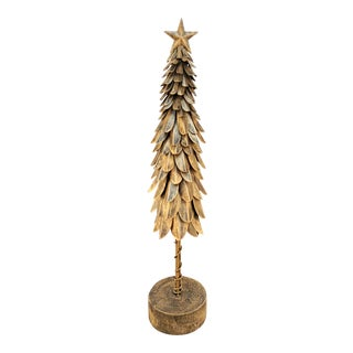 Tall Brass Toned Tree With Star