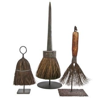 Vintage Hand Broom Brushes on Stands - Set of 3