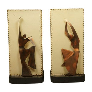 Heifetz Figural Copper Dancer Lamps - A Pair
