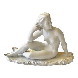 Deco Style Sitting Woman in German Biscuit Porcelain