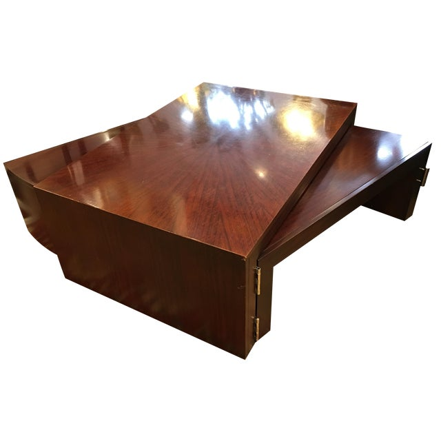 Mahogany wing extension coffee table chairish for Coffee table extension