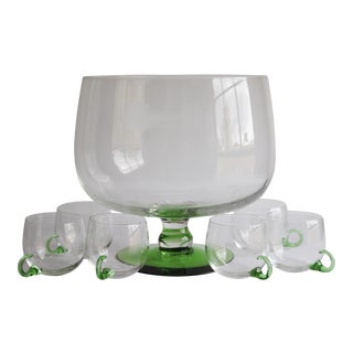 Vintage Punch Bowl & Glasses - Set of 7