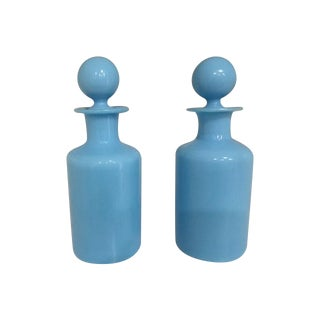 Blue Milk Glass Decanters - A Pair