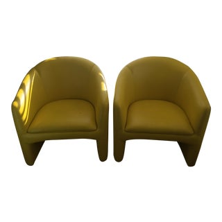Madison Furniture Modern Yellow Leather Club Chairs- A Pair