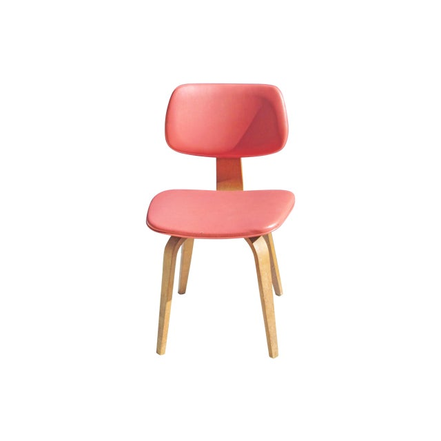 Thonet Vintage 1960 Bent Plywood Coral Vinyl Chair - Image 1 of 6