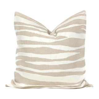 Tan Linen Zebra Kravet Pillow Cover