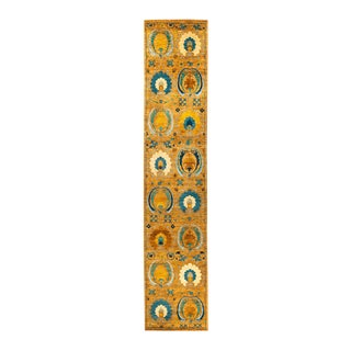 """New Blue & Yellow Suzani Hand-Knotted Runner - 2' 6"""" x 12' 8"""""""