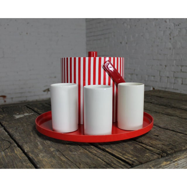 Mid-Century Red & White Ice Bucket, Tumblers and Tray Beverage Set - Image 3 of 11