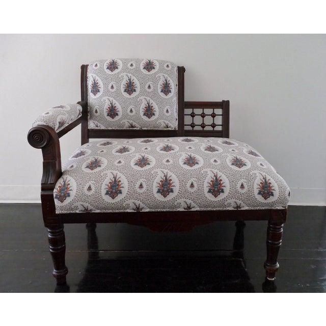 Vintage Eastlake Style Settee Upholstered in Tilton Fenwick Fabric - Image 8 of 8