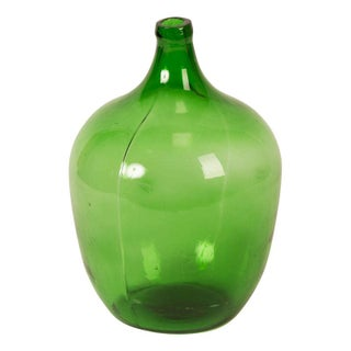 Vintage Green Glass European Demijohn