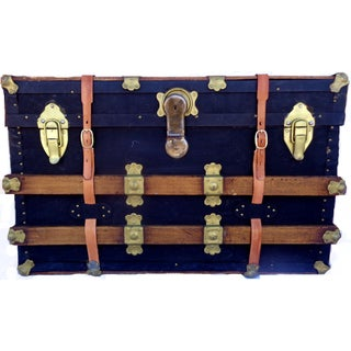 Vintage Box Trunk With Twin Leather Belts