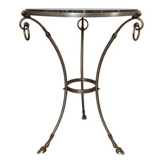 Marble Top Steel & Brass Gueridon Table