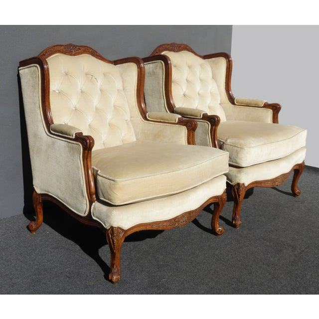 Pair of Bernhardt Tufted Wing Back Velvet Chairs - Image 3 of 11