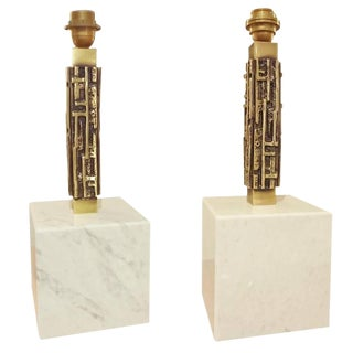 Pair of Table Lamps by Luciano Frigerio in Marble and Cast Bronze, Italy circa 1968